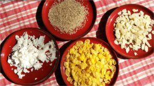 Cornflakes, Sesam, oder Mandeln