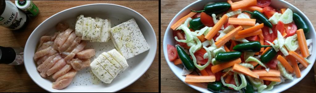 Fleisch und Käse mt Gemüse im Auflauf
